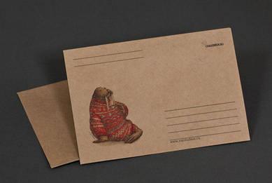 Крафт-конверт «Морж в свитере и с кружкой»